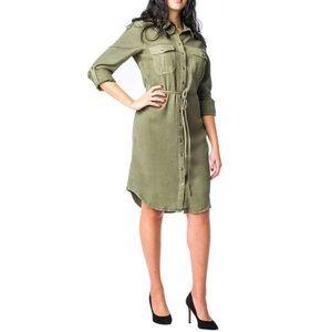 NWT Parasuco Button Down Shirt Dress Tencel Green